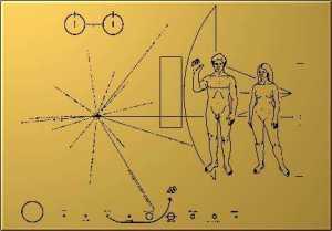 Plaque d'or embarqué dans les sondes Voyager